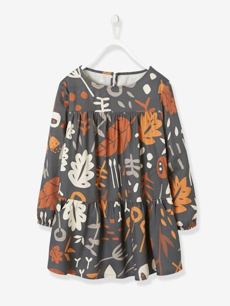 Viscose Dress for Girls BLACK DARK ALL OVER PRINTED+BLUE LIGHT ALL OVER PRINTED+GREY DARK ALL OVER PRINTED+WHITE LIGHT ALL OVER PRINTED+YELLOW MEDIUM ALL OVER PRINTED
