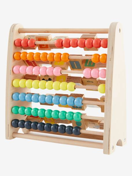 Wooden Abacus WHITE MEDIUM 2 COLOR/MULTICOL