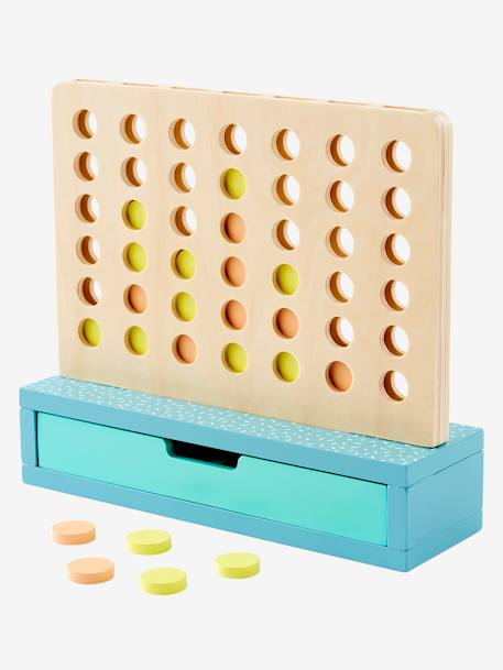 4 In a Row! Wooden Game BEIGE LIGHT SOLID