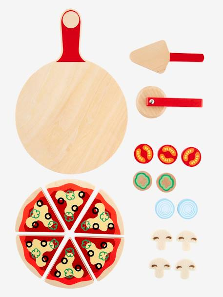 Wooden Pizza Set BEIGE DARK TWO COLORS/MULTICOL