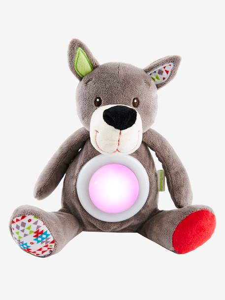 Wolf Soft Toy, Musical Nightlight GREY MEDIUM SOLID WITH DESIGN