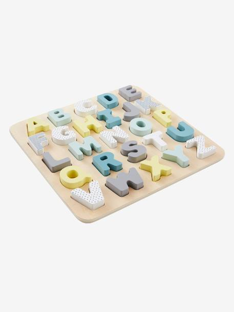Wooden Alphabet Puzzle Board BEIGE MEDIUM SOLID WITH DECOR