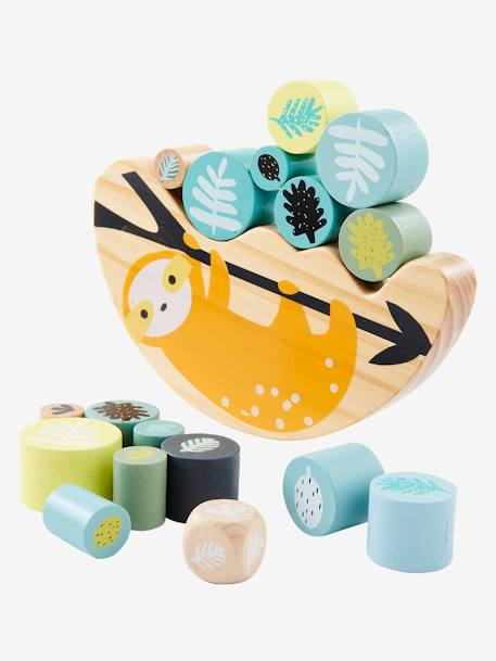 Wooden Balance Game, Sloth Theme BEIGE LIGHT TWO COLOR/MULTICOL