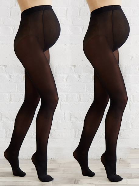 Pack of 2 pairs of opaque Maternity tights Black + tan+BLACK DARK 2 COLOR/MULTICOL