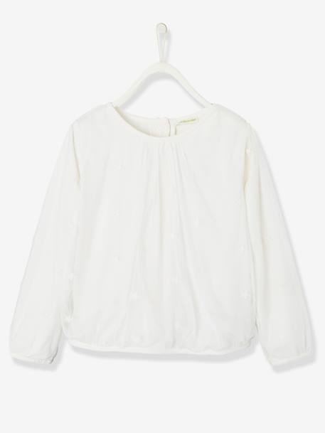 Blouse for Girls in Star-Embroidered Tulle WHITE LIGHT SOLID WITH DESIGN