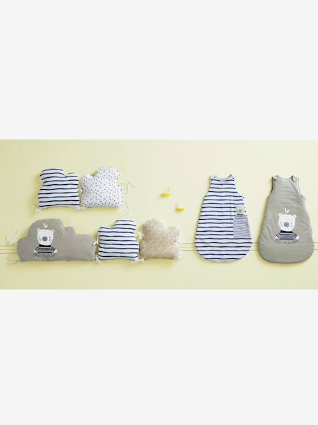 Adjustable Cot Bumper, Fun Sailor Theme Grey/white