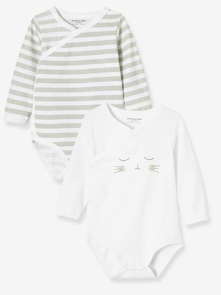 Pack of 2 Newborn Bodysuits, Cat Motif, in Organic Cotton GREY LIGHT TWO COLOR/MULTICOL+WHITE LIGHT TWO COLOR/MULTICOL
