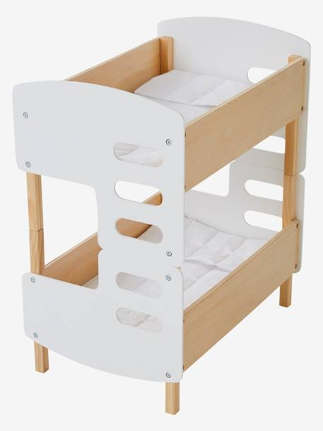 Wooden Bunk Bed For Dolls White Light Solid With Design Toys Vertbaudet