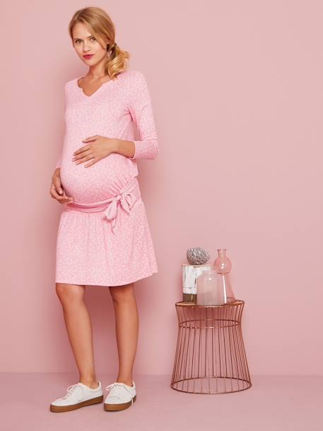 Smocked Waist Maternity Dress BLACK DARK SOLID+PINK LIGHT ALL OVER PRINTED