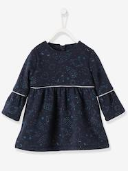 Baby-Dresses & Skirts-Dress in Printed Fleece, Lined, for Baby Girls