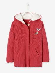 Girls-Cardigans, Jumpers & Sweatshirts-Cardigans-Long Hooded Cardigan, Lined, for Girls