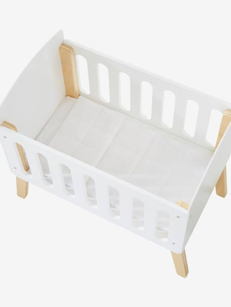 Wooden Bed with Legs for Dolls WHITE BRIGHT SOLID