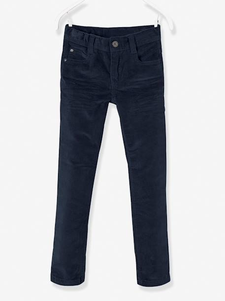 Corduroy Slim Leg Trousers for Boys, MEDIUM Hip BLUE DARK SOLID+BROWN LIGHT SOLID+GREY DARK SOLID