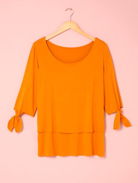 Nursing Top, 3/4 Sleeves with Bows ORANGE MEDIUM SOLID+RED DARK SOLID
