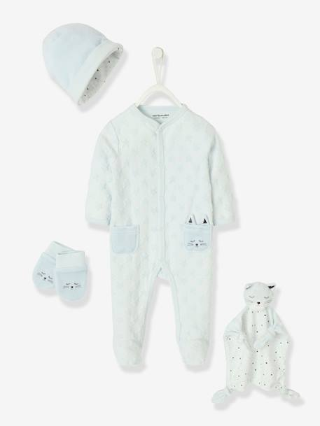 Gift Set for Newborn Babies, with Pyjamas BLUE LIGHT SOLID WITH DESIGN+GREY MEDIUM SOLID WITH DESIGN+PINK LIGHT SOLID WITH DESIGN+WHITE LIGHT SOLID WITH DESIGN