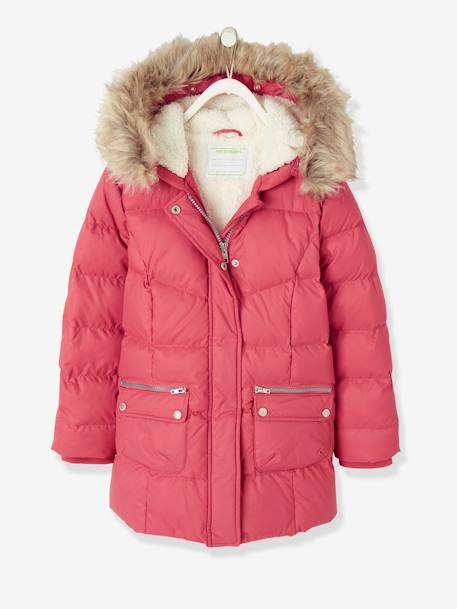 81d232a8fdf3 Down Coat with Hood for Girls - pink dark solid