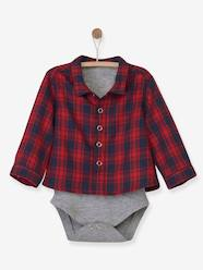 Baby-T-shirts & Roll Neck T-Shirts-Checked Shirt-Bodysuit for Newborn Babies