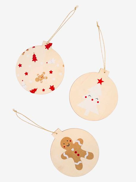3 Flat Christmas Baubles, in Paper BEIGE LIGHT TWO COLOR/MULTICOL