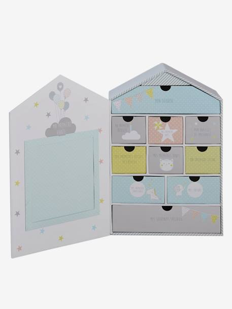 Newborn Box with Drawers GREY LIGHT SOLID WITH DESIGN