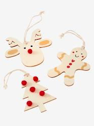 Storage & Decoration-Decoration-Decorative Accessories-Set of 3 Wooden Christmas Decorations