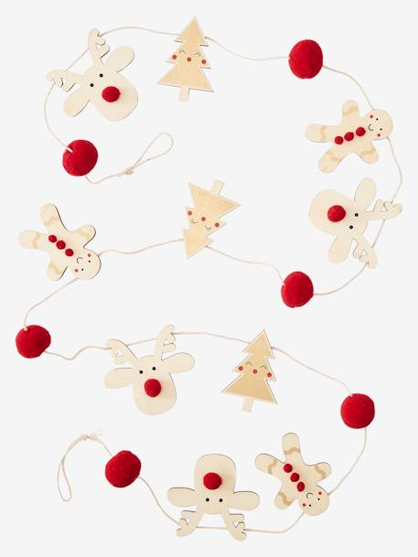 Wooden Christmas Garland BEIGE LIGHT TWO COLOR/MULTICOL