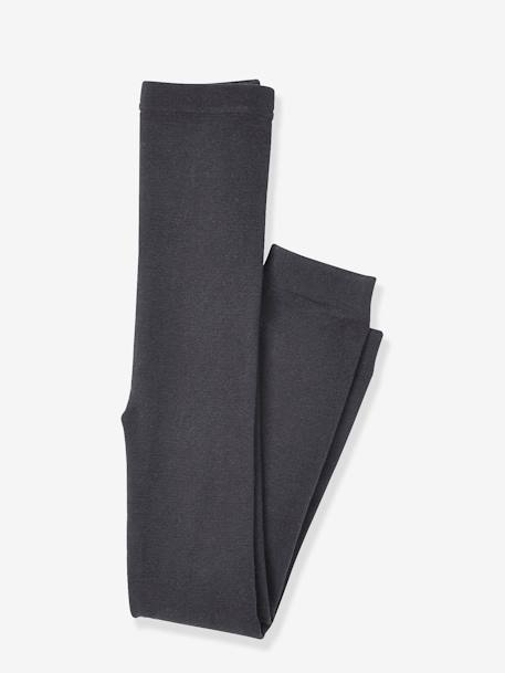 Girls' Leggings with Fleece Lining GREY DARK SOLID