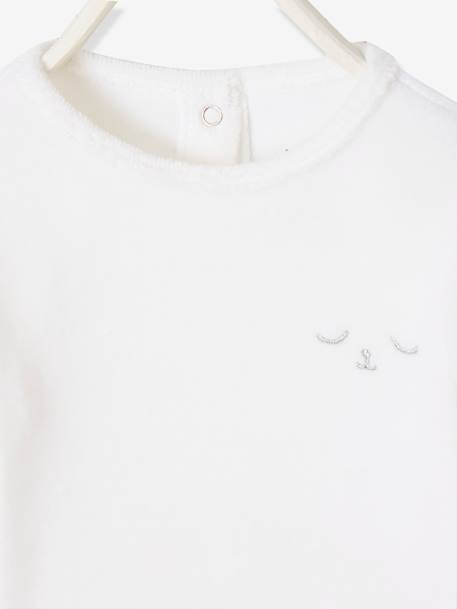 Pyjamas in Organic Velour for Babies, with Press-Studs on the Back WHITE LIGHT SOLID WITH DESIGN