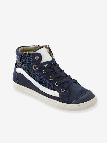 Girls' Leather High-Top Trainers with Glitter BLUE DARK SOLID WITH DESIGN+GREY MEDIUM SOLID WITH DESIGN