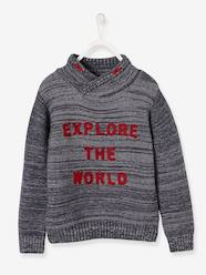 Boys-Cardigans, Jumpers & Sweatshirts-Jumpers-Jumper with Crossover Collar and Applied Wording for Boys
