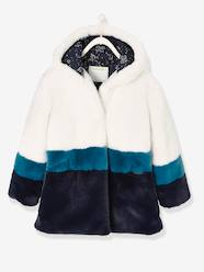 Girls-Coats & Jackets-Three-Colour, Faux Fur Coat for Girls