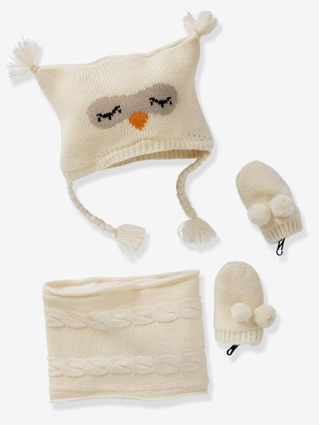 Baby Girls' Beanie, MIttens & Snood Owl Set GREY MEDIUM MIXED COLOR+WHITE LIGHT SOLID WITH DESIGN
