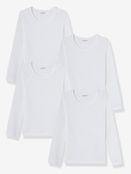 Girls' Pack of 4 Long-Sleeved T-Shirts White