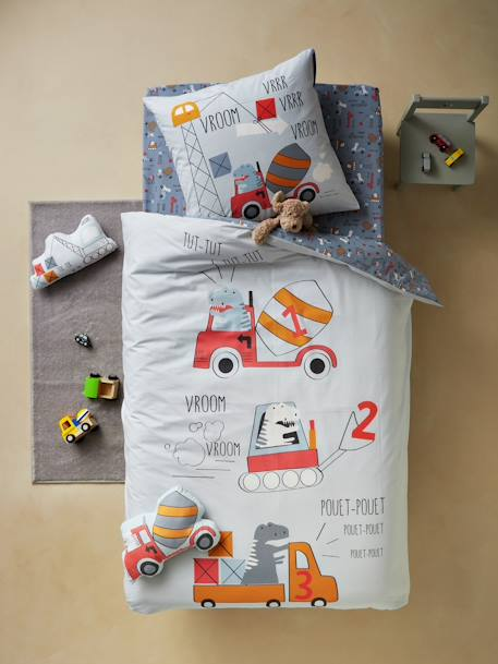 Duvet Cover + Pillowcase Set, DINO TRUCK Theme BLUE LIGHT SOLID WITH DESIGN