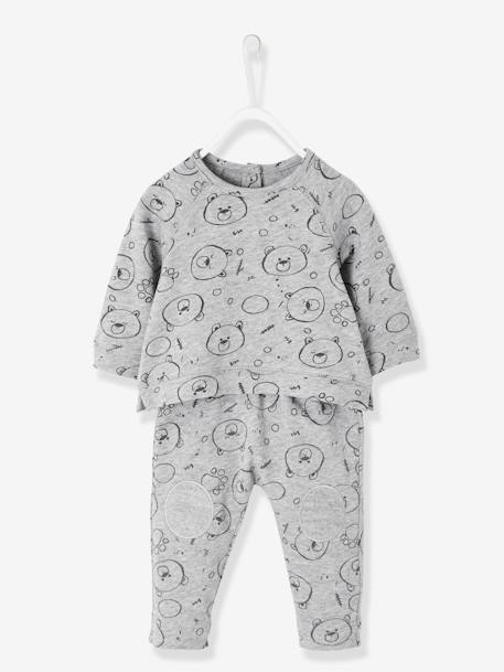 Sporty-Style Sweatshirt & Trousers Outfit for Newborn Babies GREY MEDIUM MIXED COLOR+PINK MEDIUM ALL OVER PRINTED