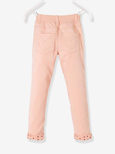 MEDIUM Hip Slim Trousers for Girls PINK LIGHT SOLID WITH DESIGN