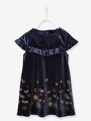 Girls-Formal Velour Dress with Iridescent Butterflies, for Girls