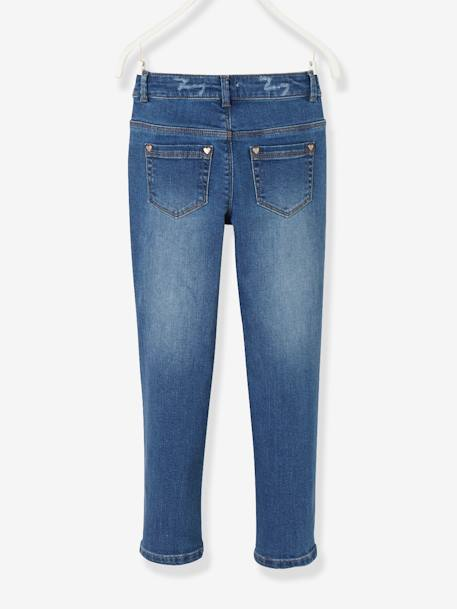 NARROW Hip, Straight Leg Jeans for Girls BLUE DARK WASCHED