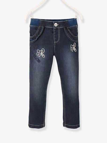 Denim Trousers with Fancy Details for Girls BLUE DARK SOLID