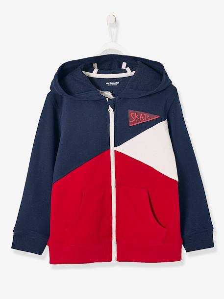 Boys' Colour Block Jacket with Zip BLUE DARK SOLID WITH DESIGN+GREEN DARK SOLID WITH DESIGN+RED DARK SOLID WITH DESIGN