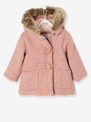 Baby-Outerwear-Coats-Woollen Coat with Fur Lining for Baby Girls