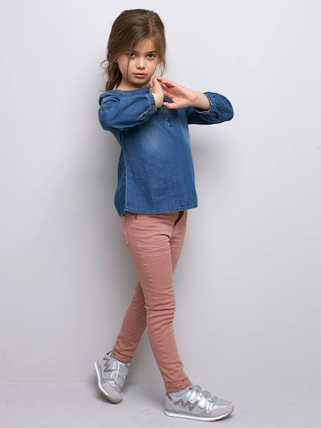 NARROW Hip Slim Trousers for Girls BLUE DARK SOLID+BROWN DARK SOLID+GREEN DARK SOLID+PINK LIGHT SOLID+YELLOW DARK SOLID