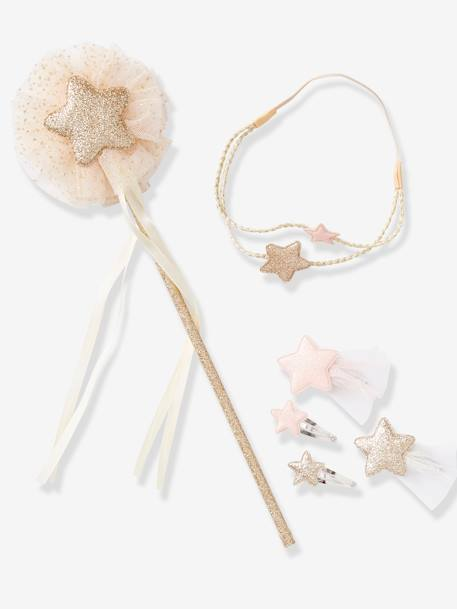 Set of Accessories for Girls: Magic Wand + Alice Band + Hair Clips BLUE DARK SOLID+PINK LIGHT SOLID