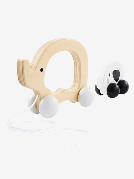 Wooden Pull-Along Mother and Baby Elephant WHITE LIGHT SOLID WITH DESIGN