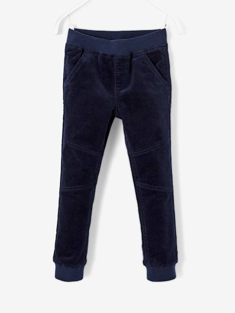Stretch Velour Trousers with Lining for Boys BLUE DARK SOLID