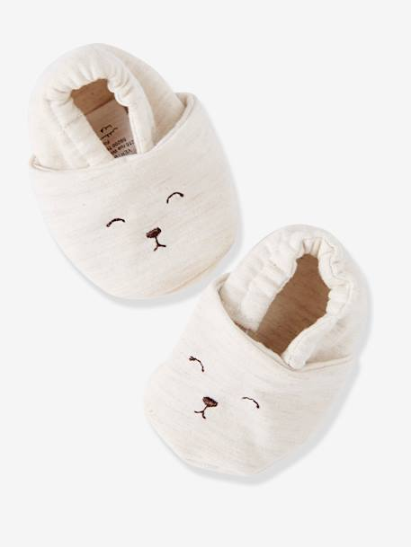 Outfit for Newborn Babies: Sweatshirt with Fox Embroidery, Fleece Trousers & Fluffy Booties BEIGE LIGHT MIXED COLOR