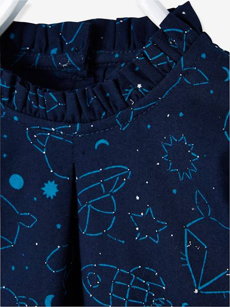 Printed Blouse for Baby Girls BEIGE LIGHT ALL OVER PRINTED+BLUE DARK ALL OVER PRINTED
