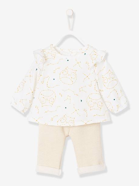 Blouse, Shorts & Tights Outfit for Newborn Baby, Owls WHITE LIGHT ALL OVER PRINTED