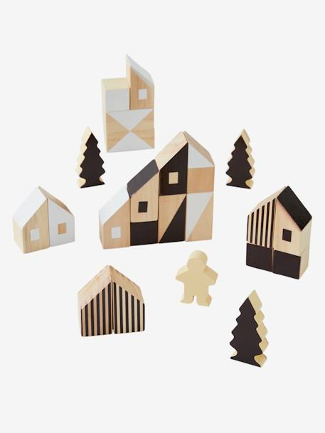 Wooden Building Blocks, by Ville, 58 Pieces WHITE BRIGHT 2 COLOR/MULTICOL