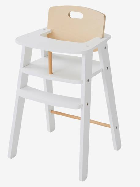 Wooden High Chair For Dolls WHITE LIGHT SOLID WITH DESIGN