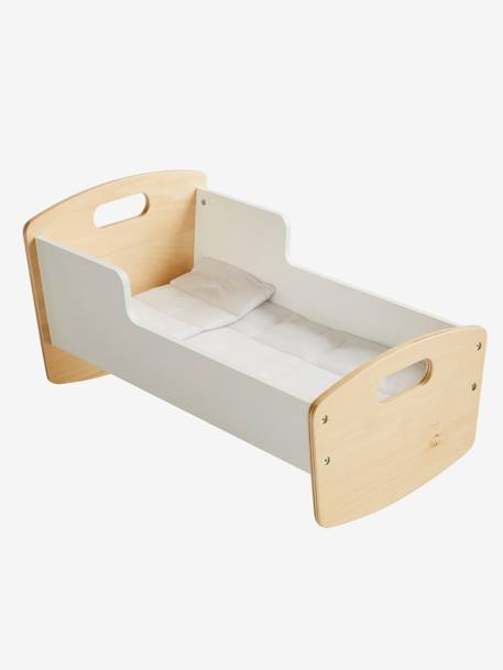 Wooden Cradle for Dolls WHITE LIGHT SOLID WITH DESIGN